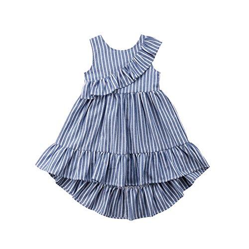Kleidung Baby Mädchen Striped Plissee Spitze Unregelmäßiges Kleid (1 Jahr Alte Kostüme Ideen)