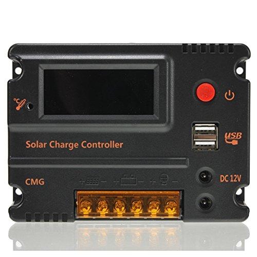 MOHOO 20A 12V-24V Solar Panel Regler Laderegler Intelligente Heim Verwenden PWM & WPC-Modus LCD Display Solarladeregler Mit USB Geeignet für Haus, Industrie, Gewerbe, Boot, Auto usw.# - 2