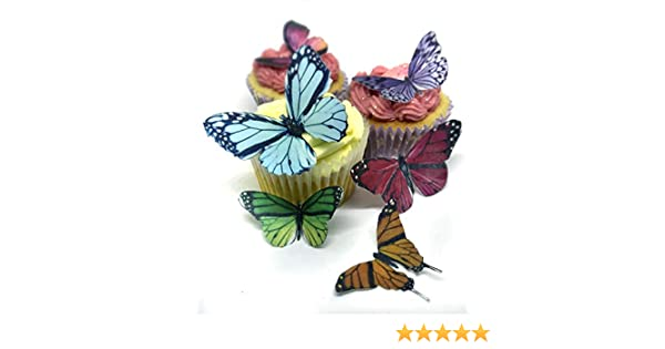 14 Stunning Bright Mixed Size and Colours Edible Wafer Paper Butterfly Cake Toppers Decorations