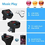Blufree Bluetooth FM Transmitter Car Radio Adapter, Bluetooth MP3 Music Receiver Handsfree Car Kits, Bluetooth Transmitter for Car with USB Charger/SD Card/USB Disk/Voltage Detection/Noise Reduction