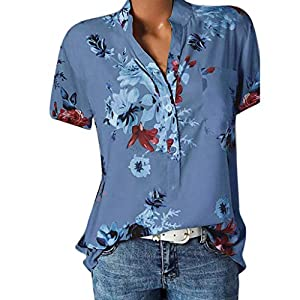 Tosonse T-Shirt Für Damen Shirts Tops Beiläufige Herbst Kurzarm Tunika Blusen Elegant Blumendruck Tee V-Ausschnitt