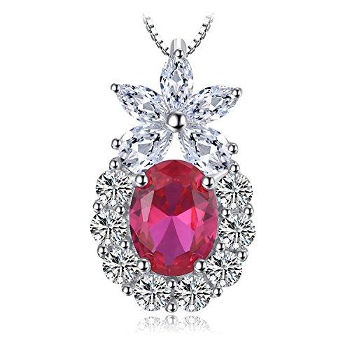 JewelryPalace Flower 3ct Erstellt Rubin Anhänger 925 Sterling Silber