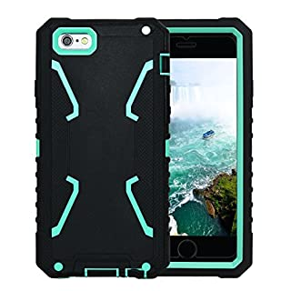 Allbuymall iPhone 6S Hülle iPhone 6 Hülle Außen Stoßfest Schutzhülle Schutzetui Etui Handyhülle Silikon 3in1 Cover Case mit Displayschutzfolie für Apple iPhone 6 6S 4,7
