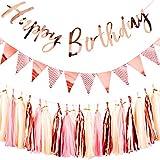 Rose Or Kit Décorations de Fête D'anniversaire Rose Gold Joyeux Anniversaire Bannière drapeau triangulaire Fanions Bannière avec des glands bricolage guirlande Tassel Décorations Articles De Fête