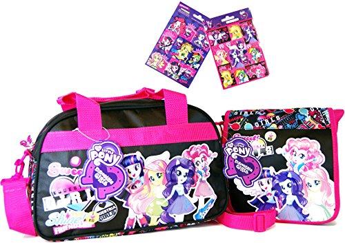 My little Pony 3 TLG Equestria Girls - Super Set - Reise - Tasche/Sporttasche/Kindergarten-Tasche (34 x 22 x 21 cm) + Umhängetasche (20 x 20 x 5 cm) + 16 Equestria Girls Sticker