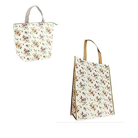 Gossip Girl - Lovely Foil Insulated Lunch Bag - Retro / Flowers / Butterfly / Red Shoes + Reusable Shopper