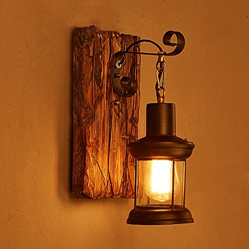 Holz-kronleuchter (E27Retro Holz Metall Wandleuchte Vintage industrielleen Kronleuchter, 1Pcs)