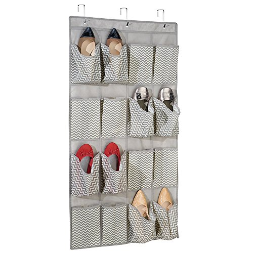 mdesign-chevron-fabric-closet-storage-organizer-for-shoes-sandals-slippers-flats-over-door-16-pocket