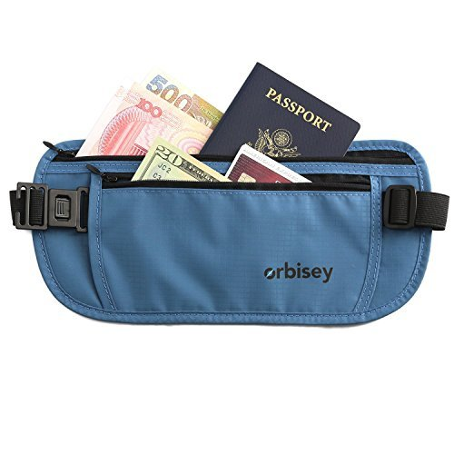 Price comparison product image Orbisey Travel Adventure Hidden Waist Money Belt Water-Resistant for Passport,  Credit Cards,  Phone,  Documents One-Size Fits All (Blue)