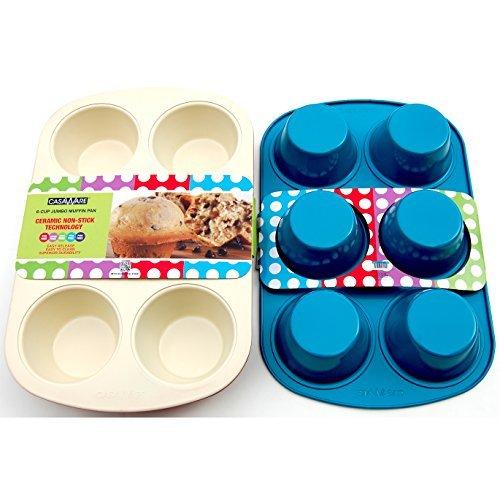 casaWare Ceramic Coated Non-Stick 6 Cup Jumbo Muffin Pan (Cream/Blue) by casaWare 6 Jumbo Muffin Pan