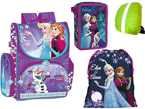 Disney Frozen Anna, ELSA, Olaf Schulranzen Set Schulrucksack Kinderrucksack. Gefüllte Federmappe 26-teilig, Schuhbeutel, Regenschutz Motivdruck 4-teilig