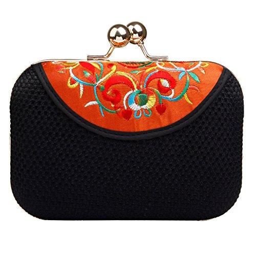 Audixius Elegant Damen Kurz Clutch Chinoiserie Stickerei Mit Kiss Verschlusshaken Orange