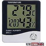 Aulola® LCD Digital de la temperatura humedad temperatura higrómetro termómetro electrónico relojes de alarma para casa oficina o coche