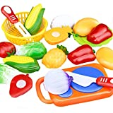 Pretend Play Food REYO Childrens Kids Pretend Role Play Kitchen Fruit Vegetable Food Toy Cutting Set Educational Toy Christmas Gift 12 Pcs (multi, 12 Pcs)