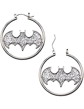 DC Comics Batman Glitter Stainless Steel Fashion Hoop Earrings