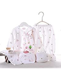 Bebé recién nacido primavera y verano ropa Set de algodón 5pcs (Cap + babero + pijama + pantalones) atención regalo del bebé 0–3M