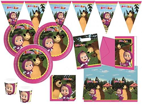 50 Teile Mascha und der Bär Party Deko Set für 6-8 Kinder