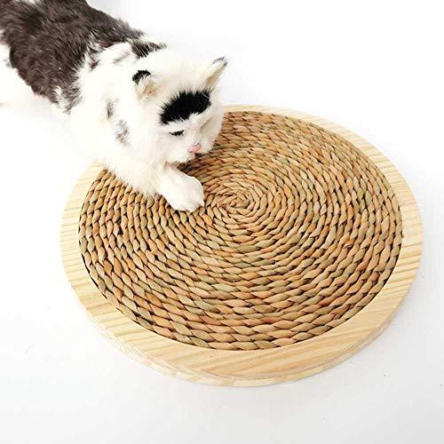 KOBWA Katze Kratzbett 34cm Große Massivholz Sisal Teppich Haustier Kratzen Bett Pad Katze Kratzen Lounge Spielzeug für Schleifen Klaue Körpermassage Kratzen Schlafen Ruhen