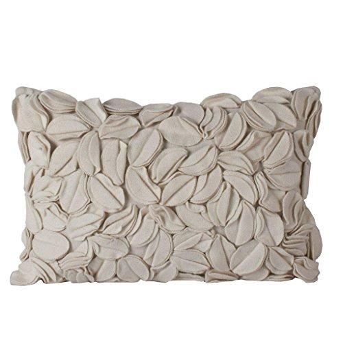 Sanaa, Floral Dye Cut Ivory Cushion Cover, Ivory, 30x50 Cms