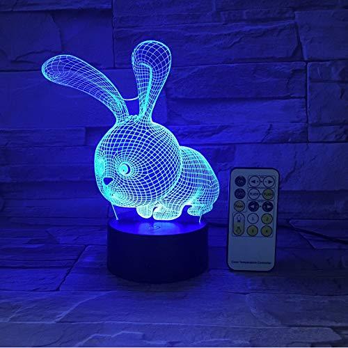 Ganjue Cartoon Kaninchen Bunny Nightlight 3D Usb Touch Schalter Fernbedienung Acryl 7 Farbverlauf Atmosphäre Lampen Kinder Geschenke