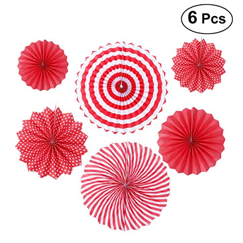 WINOMO 6pcs Papier Single Layer Handmade Fan Flower Set für Hochzeit Dekoration Zubehör (Red Series)