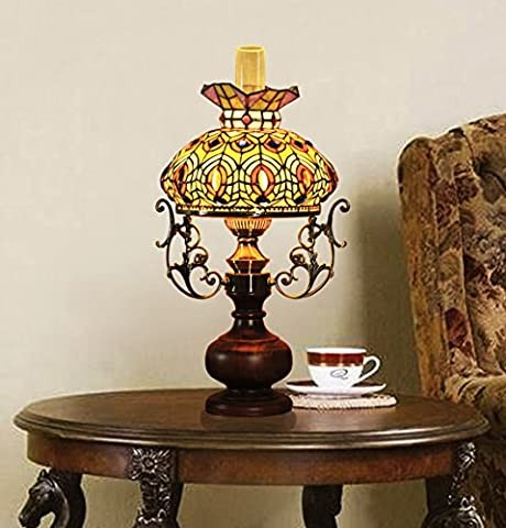 Makenier Vintage Baroque Classic Art Tiffany Style Stained Glass Oil-lamp-shaped Big Table Lamp, 12 Inches Lampshade