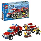 Lego Year 2007 City Series Vehicle Set #7942 Off Road Fire Rescue Truck With Trailer And Fire Chief Minifigure (Total Pieces: 130)