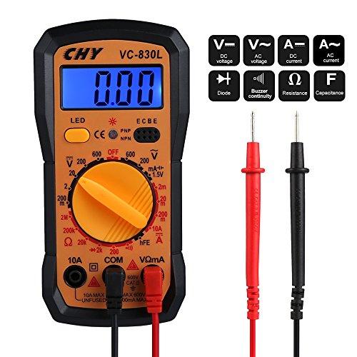 Multimètre Numérique, Vegbirt Mini Multimètre Digital Testeur de Résistance Courant Tension AC / DC, Testeur de Température Voltmètre Digital Multimètre avec Ecran LCD