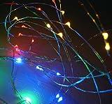 2x Lichterkette LED 20 40 100 bunt Silberdraht Kupferdraht INKL Batterien (20 LED)