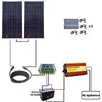 eco-worthy 2x 160W 300W 24V off Grid Solar System W/solar controller 220V inverter uso domestico