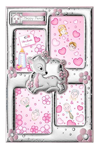 Mehrere Bilderrahmen – Baby Collection – Pink – Happy Family – cm 17 x 26 Retro Holz Bi laminiert Silber Made in Italy Pink Skulptur