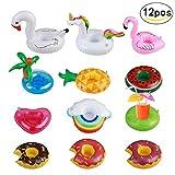 Queque Shine 12pcs posavasos de flotador unicornio inflador flamenco colchonetas...