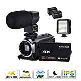 CofunKool 4K Camcorder Ultra HD 60FPS WiFi Videokamera 48MP 3.0 Zoll IPS Touchscreen Nachtsicht Digital Video Camcorder mit Mikrofon und LED Licht