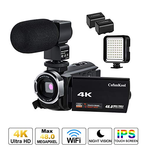 4K Camcorder Ultra HD Videokamera CofunKool 48MP 3.0 Zoll IPS Touchscreen Nachtsicht WiFi Digital Video Camcorder mit Mikrofon und LED Licht