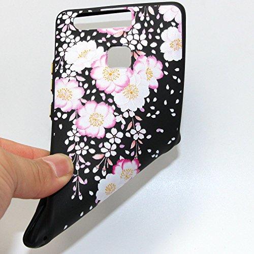 Huawei P9 Custodia, Huawei P9 Cover Nero, JAWSEU Huawei Ascend P9 Protezione Case Cassa Gomma Morbida Gel Silicone Custodia per Huawei Ascend P9 Cover Protectiva Bumper per Huawei P9 Coperture Flessib #4 Floreale