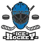 dekodino® Adesivo murale Maschera Hockey su ghiaccio in blu sportivo