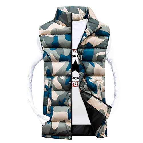 Zhhlaixing Klassisch Camouflage Men's Zipper Jackets Waistcoat Sleeveless Vests Coats Outerwear Yellow