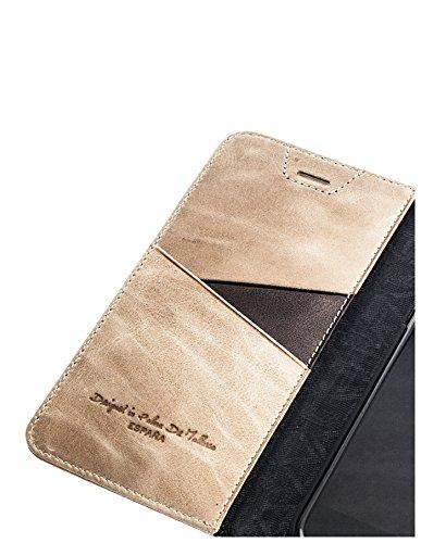 QIOTTI >                Apple iPhone 6 PLUS / 6S PLUS (5,5&quot;)                < incl. PANZERGLAS H9 HD+ Geschenbox Booklet Wallet Case Hülle Premium Tasche aus echtem vegetabil gegerbtes Kalbsleder mit Kartenfächer in ROSA. Edel ver BRAUN