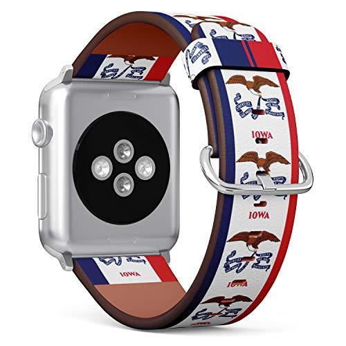 R-Rong kompatibel Watch Armband, Echtes Leder Uhrenarmband f¨¹r Apple Watch Series 4/3/2/1 Sport Edition 38/40mm - State Flag of Iowa - Iowa Leder