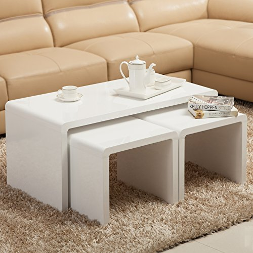 Coffee Table Layers White High Gloss Amazon Co Uk Kitchen: UEnjoy High Gloss White Coffee Table Side/End Table Set Of