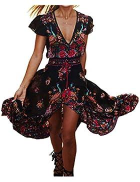 BAINASIQI Frauen Sommer Böhmisches Kleid Floral Abendkleid Übergroß Maxikleid Lange Kleider