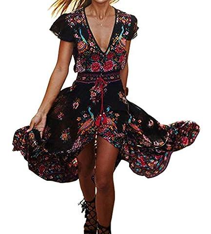 Favoridol Femme Eté Retro Robe Bohémien Imprimé Floral Maxi Robe de Cocktail Soirée Col V Profond avec l'Ourlet Haut-Bas (XL/EU 40, Noir)