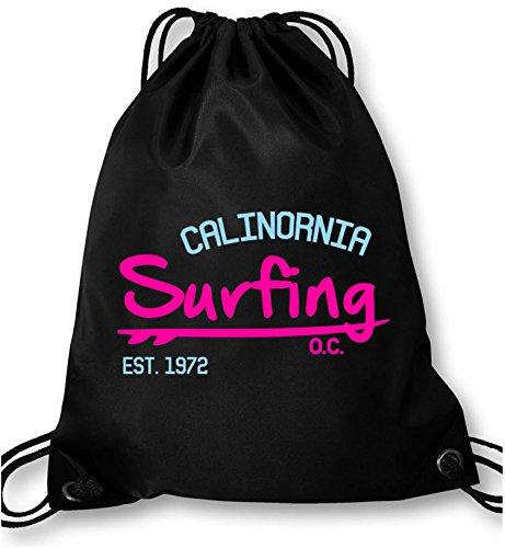 EZYshirt Surfing California Turnbeutel (Hollister Abercrombie)