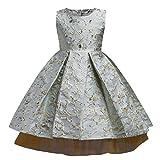 Familizo Robe de Princesse Bébé Fille, Robe de Mariage de Partie de Demoiselle D'honneur de Pageant de Dentelle (Bleu clair, 6Ans)