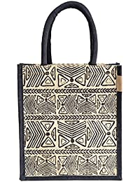 H&B Beautiful, Trendy & Stylish Jute Handbag / Beige Bag With Beautiful Black Ancient Stone Design / Quality Lunch...