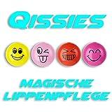 Pure² Die Qissies von pureQ I Lippenpflege und Lippenfarbe in einer Kugel I Die Smiley Kugel in 4 aufregenden Farben I 4 Kugeln I Die ganze Qissies Family