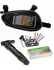Tofern Outdoors | multifonctions vélo outils de réparation kits fixés avec Mini pompe portable, noir