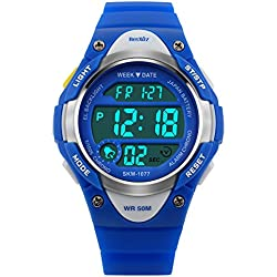 BesWLZ Sports Kids Backlight LED Digital Alarm Stopwatch Waterproof Wristwatch Children's Watches Blue