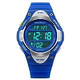 Beswlz Sports Kids Hintergrundbeleuchtung LED Digital Alarm Stoppuhr Wasserdicht Armbanduhr Kinder Uhren blau