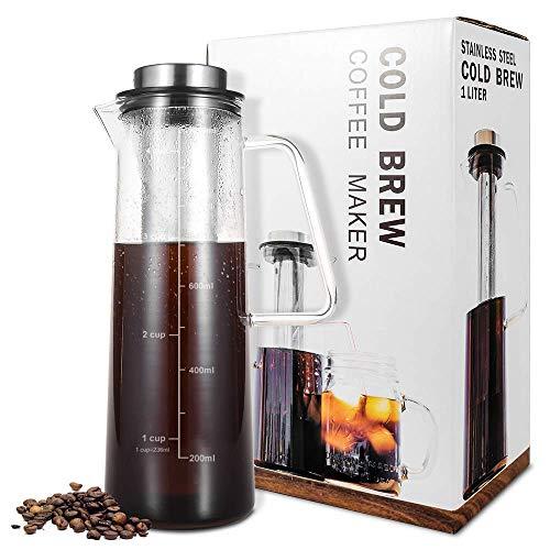 Cold Brew cafetera para Cafe/té helado 1L/34oz con cierre hermético, jarra de cristal con Infuser con filtro de acero inoxidable extraíble, ideal para infusion de café y de té casa helado o cálida.
